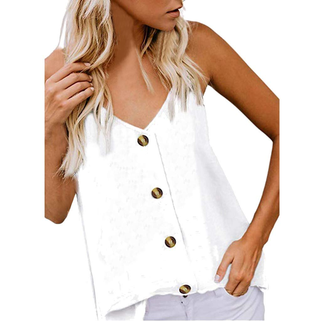 2019 Women's Button Down V Neck Strappy Tank Tops Loose Casual Sleeveless Shirts Blouses (White, S)