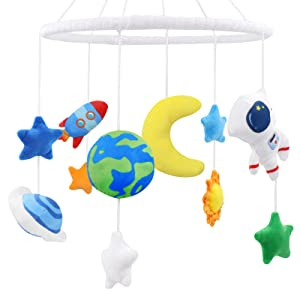 Space Nursery Mobile, Solar System Baby Crib Mobile Astronaut Plush Ceiling Hanging Spaceship Baby Shower Gifts Infant Little Boys Room Cot Decors