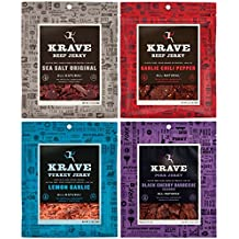 All Natural Jerky Variety Pack - Garlic Chili Pepper Beef, Sea Salt Original Beef, Lemon Garlic Turkey, Black Cherry Barbecue Pork - 2.7 Ounces Each (Pack of 4)