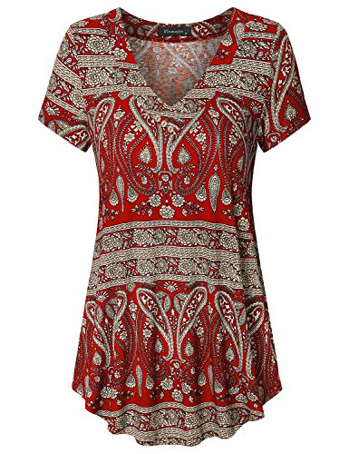 Vinmatto Women's Short Sleeve V Neck Flowy Tunic Top(L,Multi Red)