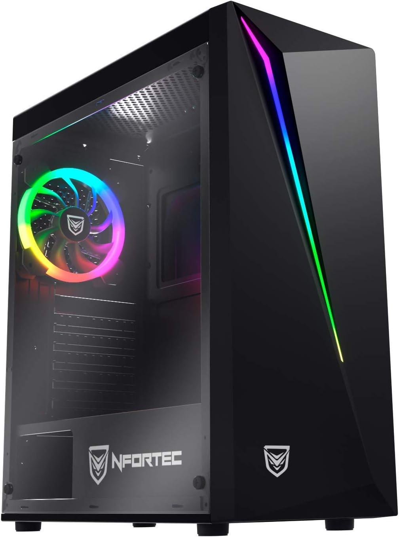 Nfortec Lynx - Torre Gaming Compatible con placas ATX, Mini-ATX e ITX y Ventilador RGB Incluido en la Parte Trasera, Negra RGB (cristal templado): Amazon.es: Informática