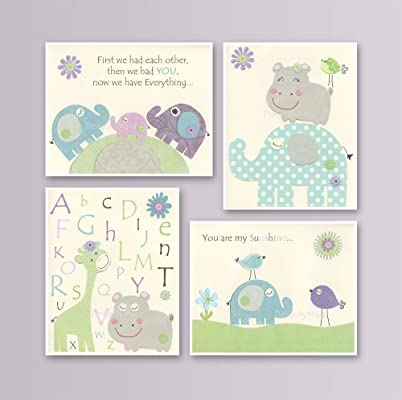 Baby girl wall art nursery decor Set of 4 prints with Hippo & Elephant