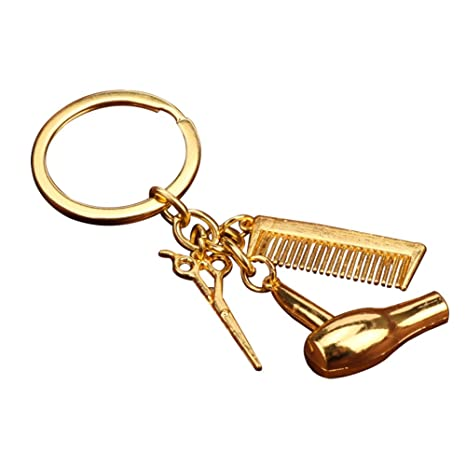 Gespout Creative Hairdressing Tools Keychain Alloy Handbag Keyring Charm Pendant Key Buckle Ornaments Accessories for Backpack Phone Car key