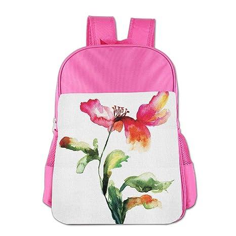 Haixia Teens BoysGirls Bookbag Watercolor Flower Shaded Single Poppy Flowering Plant Muse In