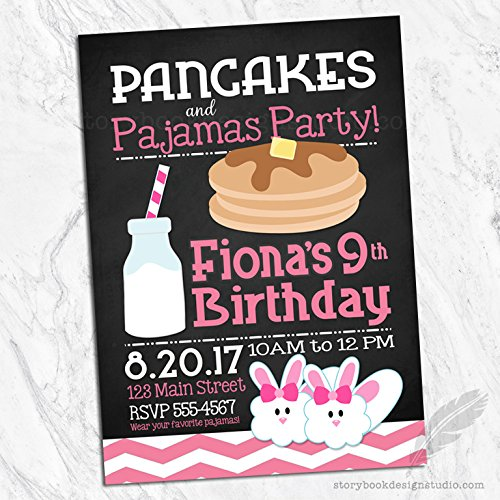 Pancakes and Pajamas Birthday Invitations (Set of 10) Envelopes Included Personalized -