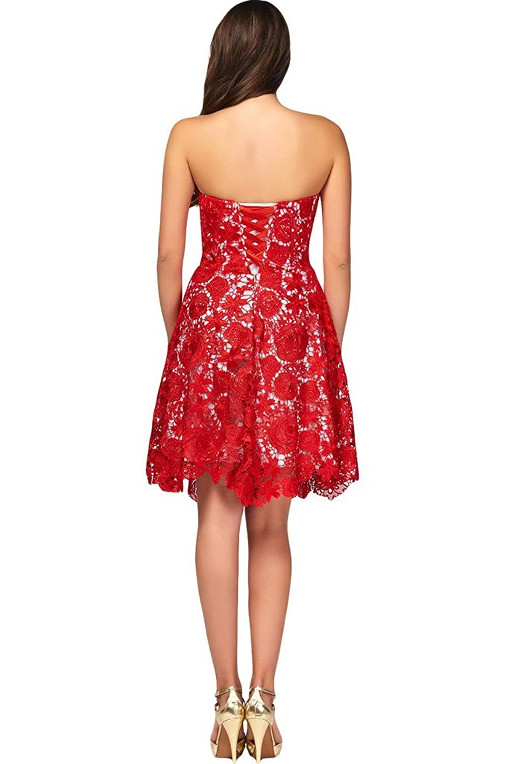 Ivydressing Sexy Sheath Short Slited Lace and Tulle Red Cocktail Formal Gown