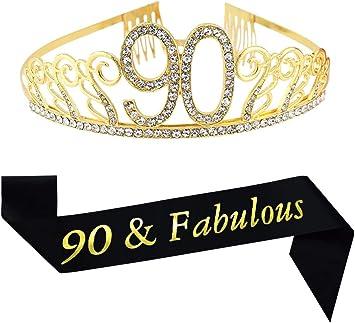 Amazon.com: Tiara y faja de oro de 90 cumpleaños y fabulosa ...