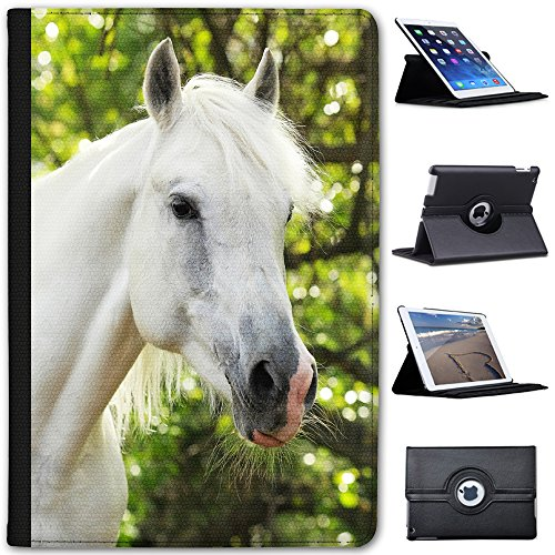 Leather Case for Apple iPad Mini 4 (Will ONLY fit The iPad Mini 4) - Portrait of Elegant White Horse