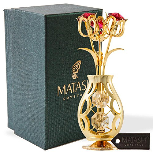 Matashi Best Gift 24k Gold Plated Flowers Bouquet and Vase w/Red & Clear Crystals | 24k Gold-Plated Table Top Decorations | Metal Floral Arrangement | Elegant Home or Office Décor ()