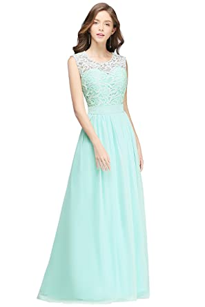 Misshow Evening Dress Elegant A line Round Neck Sleeveless Transparent Back Dress, Green, Size