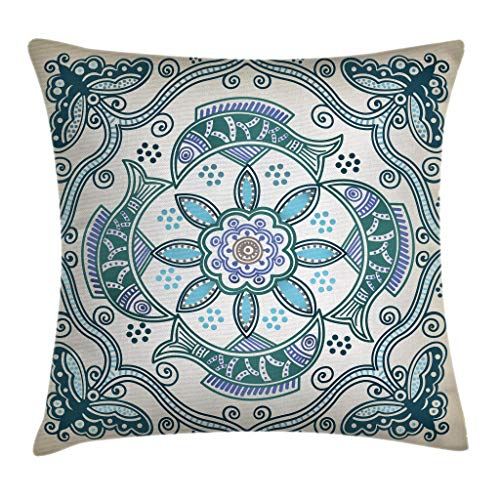 Ambesonne Floral Throw Pillow Cushion Cover by, Victorian Butterfly and Curved Fish Pattern Eastern Shabby Chic Image, Decorative Square Accent Pillow Case, 16 X 16 Inches, Teal Beige Violet Blue ()
