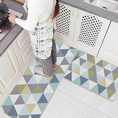 Ustide 2PC Non-Slip Kitchen Mat Rubber Backing Doormat Runner Rug Set, Creative Triangle by Ustide