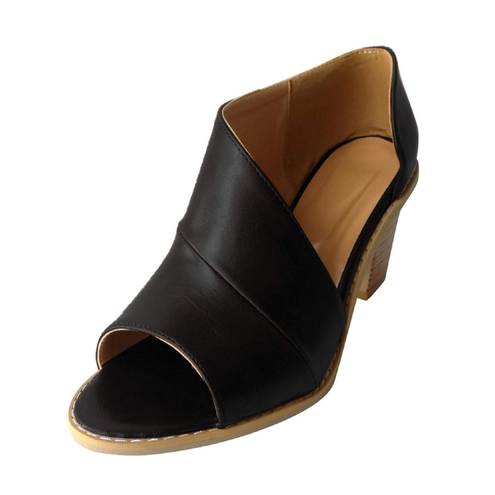 Womens Peep Toe Chunky Block Heel Sandals Casual Slip On Side Cutout D'Orsay Shoes Black