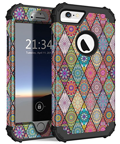 iPhone 6s Case, iPhone 6 Case, Hocase Shockproof Silicone Rubber+Hard Plastic Hybrid Full Body Protective Phone Case for iPhone 6/6s with 4.7-inch Display - Mandala Flowers/Black