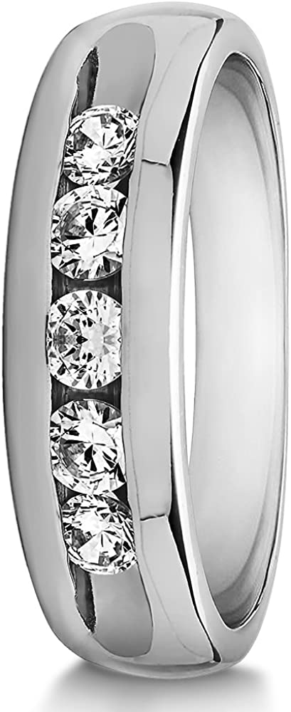 Size 3 to 15 in 1//4 Size Intervals Sterling Silver Mens Fashion Ring Black and White Cubic Zirconia 1Ct