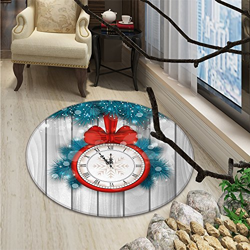 - Clock Round Area Rug New Year Celebration Midnight A Clock and Fir Pine Tree Branch IllustrationOriental Floor and Carpets Red and Pale Grey