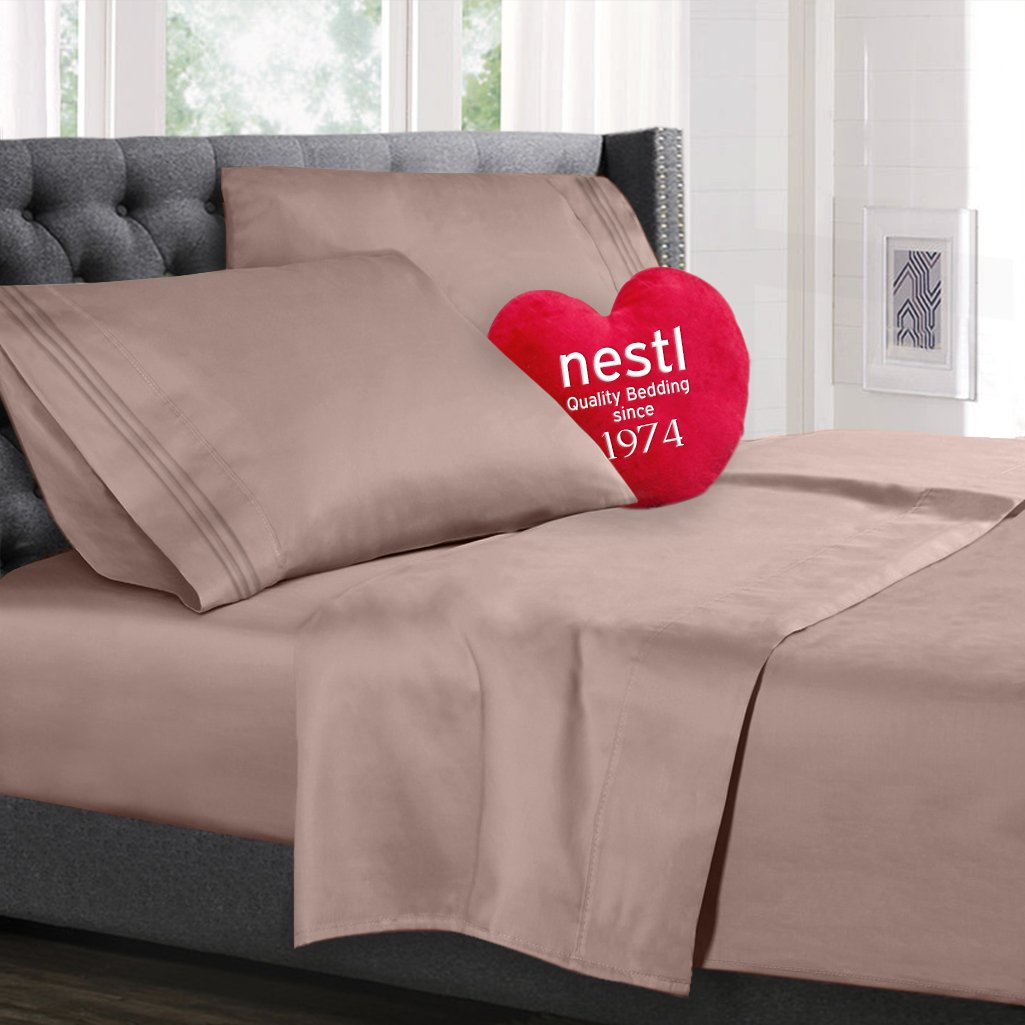 Bed Sheet Bedding Set, Queen Size, Taupe Sand