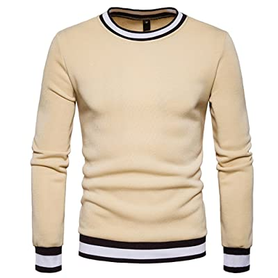 YanCui@ Men's Casual Sports Fall Winter Round Neck Color Block Sweatshirt