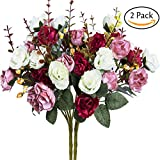 #7: Hibery 7 Branch 21 Heads Artificial Fake Flowers Silk Rose Bouquet Wedding Home Office Floral Decor, Pack of 2 (White Pink)