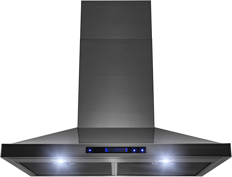 AKDY - Campana de cocina con panel táctil de acero inoxidable cepillado, 76,2 cm, color negro: Amazon.es: Grandes electrodomésticos