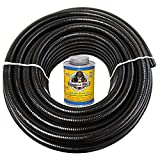 HydroMaxx 50 Feet x 1-1/4 Inch Black Flexible PVC Pipe, Hose and Tubing for Koi Ponds, Irrigation and Water Gardens. Includes Free 4oz Can of Hot Blue PVC Gorilla Glue!