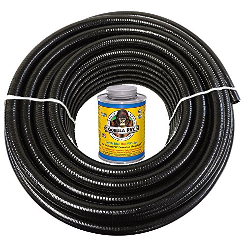 HydroMaxx 25 Feet x 1.5 Inch Black Flexible PVC Pipe, Hose and Tubing for Koi Ponds, Irrigation and Water Gardens. Includes Free 4oz Can of Hot Blue PVC Gorilla Glue!