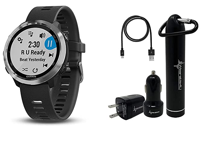 Garmin Forerunner 645 GPS Running Watch with Contactless Payments and  Wrist-Based Heart Rate and Wearable4U Ultimate Power Pack Bundle (Black,  Music