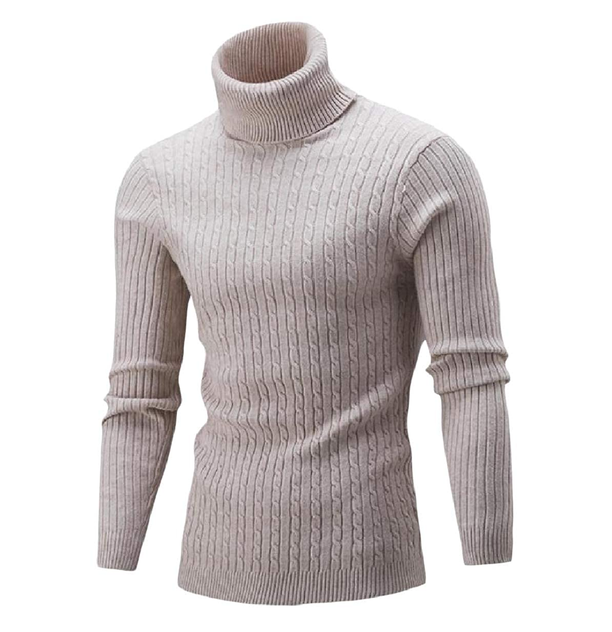 VITryst-Men Slim Fit Ribbed Pure Color Turtleneck Knit Sweater Pullover