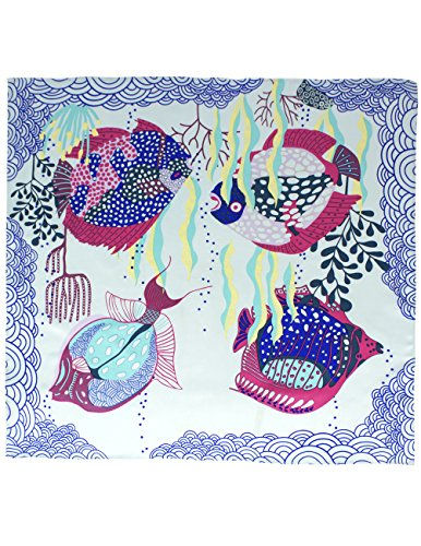Dahlia Women's 100% Square Silk Scarf - Coral Tropical Fish Neckerchief - Blue - Fish Square