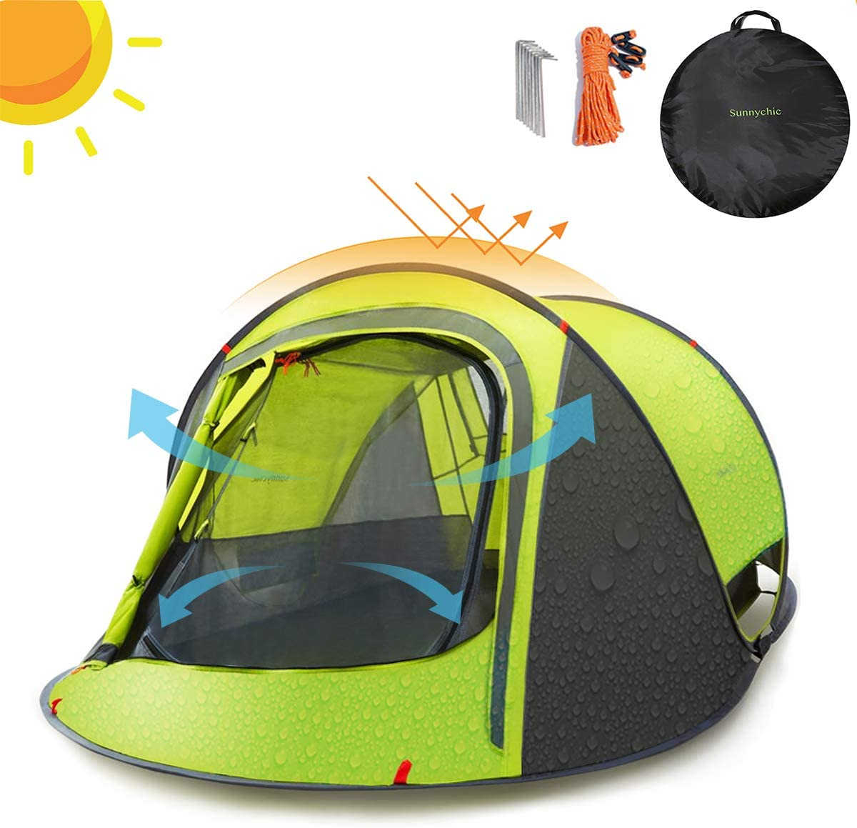 Pop Up Tent Automatic 3-4 Man Person Family Tent Hiking Camping Festival Shelter