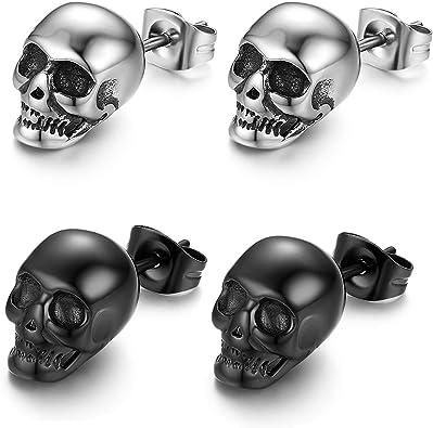 2 Pairs STAR Stud Earrings BLUE and SILVER Stainless Steel Earring UK Seller