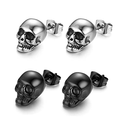 29f32edea2438 2 Pairs Punk Stainless Steel Stud Skull Earrings,Cupimatch Mens Silver  Black Rock Ear Piercing Earrings