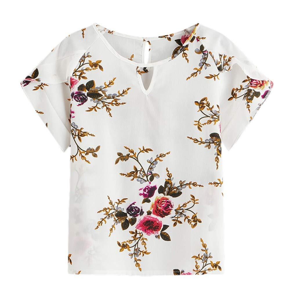 Damen Übergröße Geblümt Patchwork Slim Oberteil Glockenärmel Blusen Mesh T-shirt