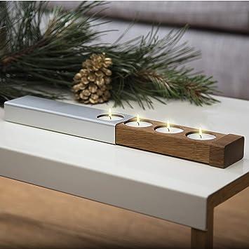 Weihnachtsdeko Holz Modern.Konstantin Slawinski Adventskranz Modern Teelichthalter Design Weihnachtsdeko Aus Holz Metall Für Tisch Fenster Inkl Teelichter