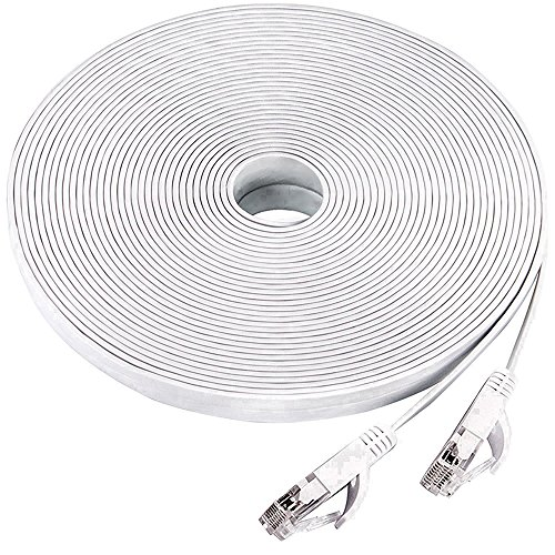 Price comparison product image Ethernet cable 50 ft, Cat 6 Flat LAN Computer Networking cable cord Long,supports Cat6a/Cat5e/Cat5 with Snagless Rj45 lead for Xbox, PS3, Patch panel, TV, NAS, Network printers-white(15 Meters)