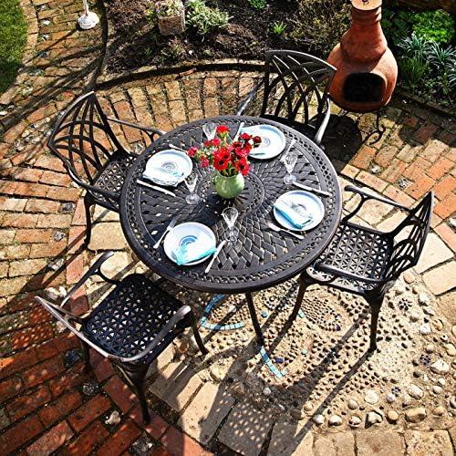 Lazy Susan - ALICE 120 cm Runder Gartentisch mit 4 Stühlen - Gartenmöbel Set aus Metall, Antik Bronze (APRIL Stühle, Beige Kissen)