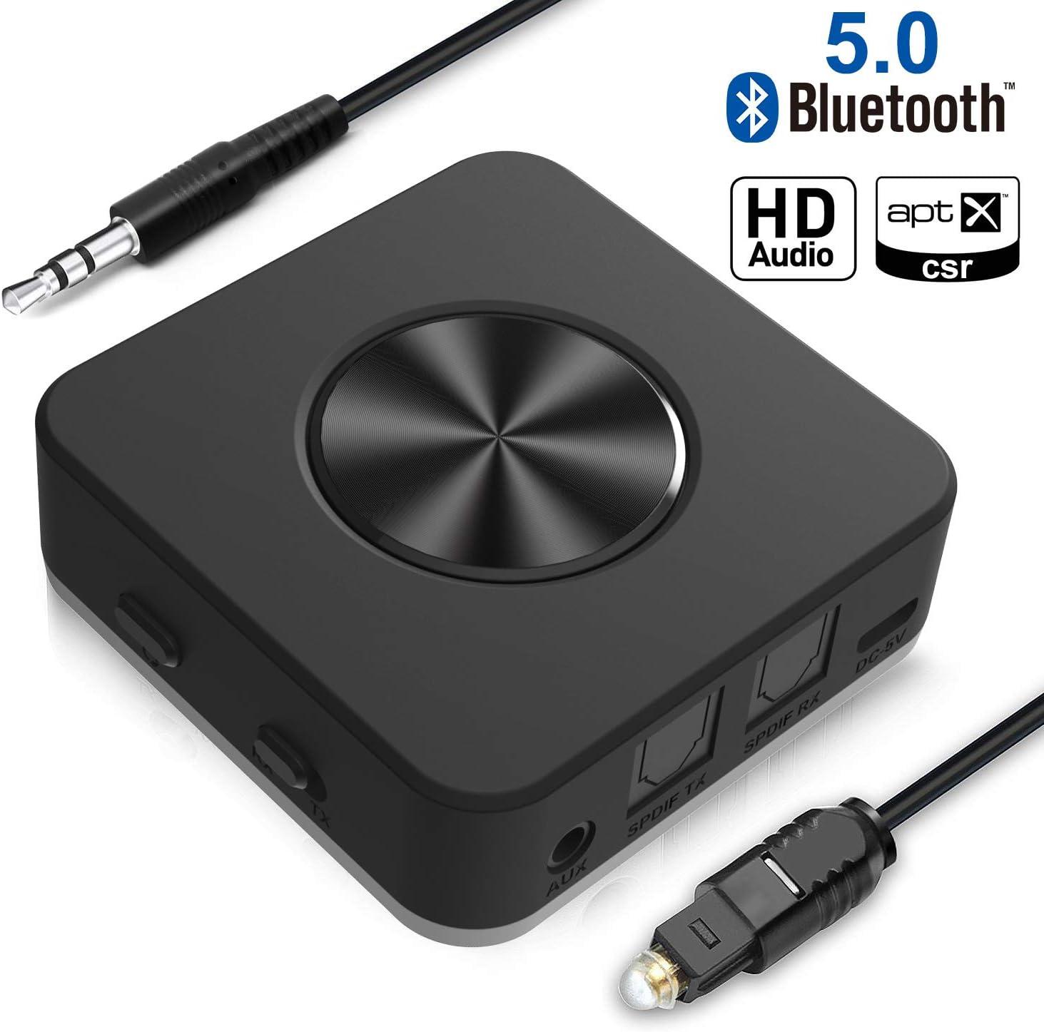 Transmisor y Receptor Bluetooth V5.0 Adaptador inalámbrico Bluetooth Yuanguo 2 en 1 con Puerto de Audio de 3,5 mm, Digital Óptico de Toslink y Latencia Baja AptX, para Auriculares Coche y TV