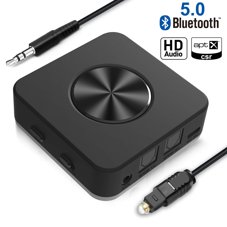 Yuanguo Bluetooth Adapter Audio Bluetooth Empfänger und Transmitter für Auto und Zuhause, Bluetooth 5.0 mit Digital Optischem Toslink und 3.5mm Aux, apt-X HD/LL, Zwei Verbindung für TV PC product image
