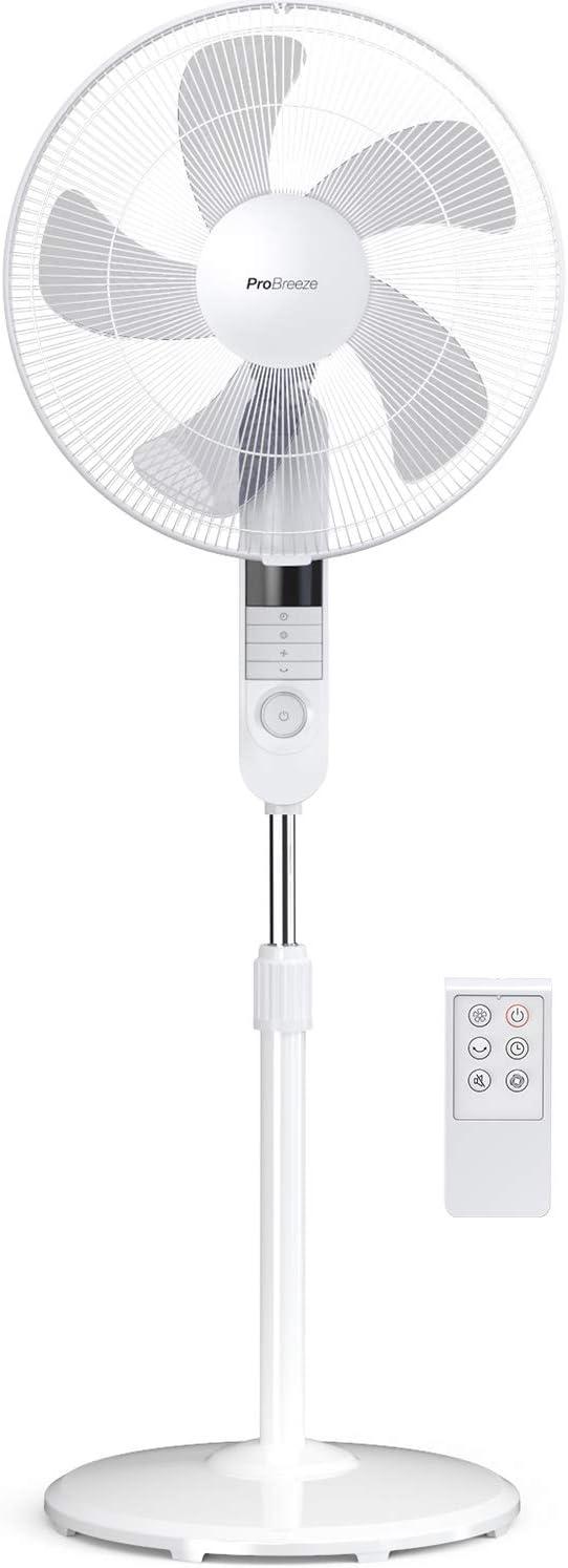 Pro Breeze Ventilador Pedestal de 40 cm con Control Remoto y Pantalla LED | 4 Modos de operación | Oscilación de 80° | Cabezal del Ventilador Ajustable en Altura y Giratorio
