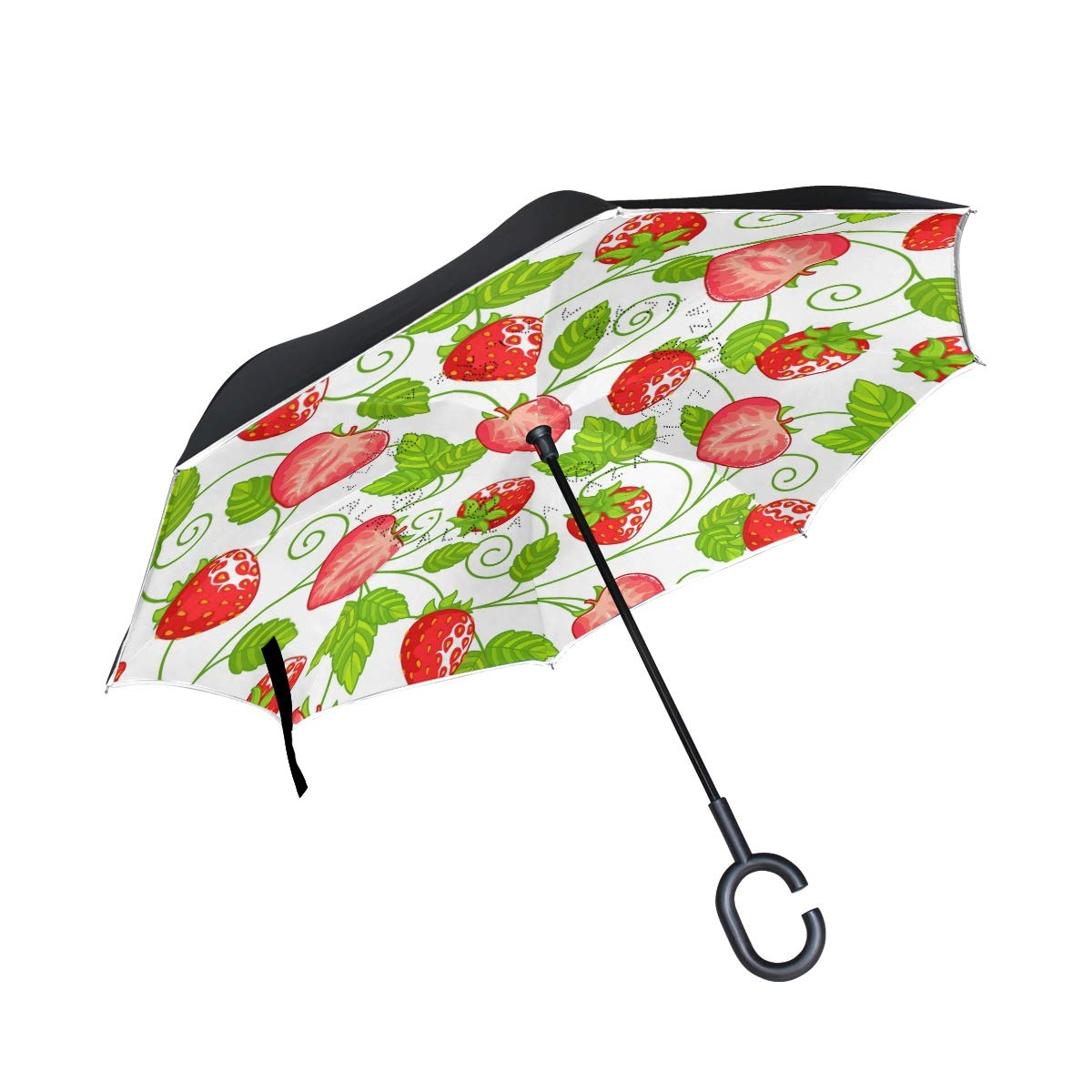 ALINLO inversé Parapluie Motif Fraise, Double Couche Envers Parapluie pour Voiture Pluie étanche d'extérieur avec poignée en Forme de C