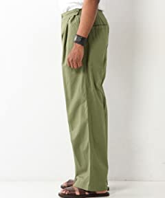 Cotton Pleated Wide Leg Pants 1114-699-6082: Olive