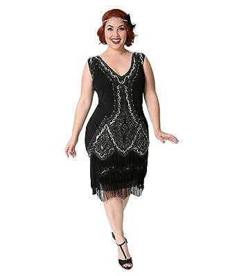Unique Vintage Plus Size 1920s Style Black & Silver Beaded ...