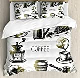 Coffee Duvet Cover Set King Size by Ambesonne, Brewing Equipment Doodle Sketch Grinder French Press Plastic Cup Scoop Vintage, Decorative 3 Piece Bedding Set with 2 Pillow Shams, Black Yellow