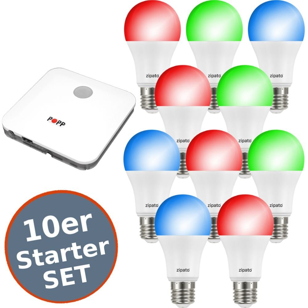 Starter Set Zipato 2 Smart LED E27 RGBW 9,5W Z-Wave Plus iOS Android + Gateway Auswahl 10er Set