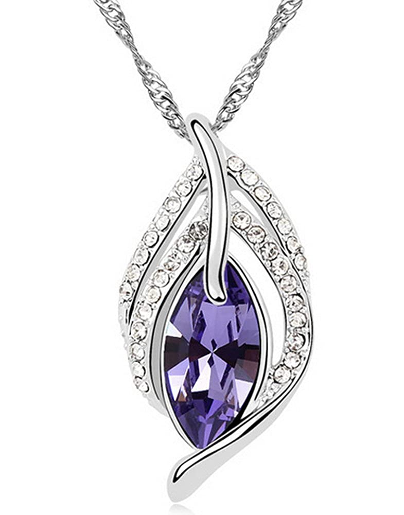 Wonvin Collier Femmes Pendentif Am/éthyste Pendentif Plaqu/é Or Blanc Long 18 pouces Cha/îne Couleur Violet pour Lady Gift Filles