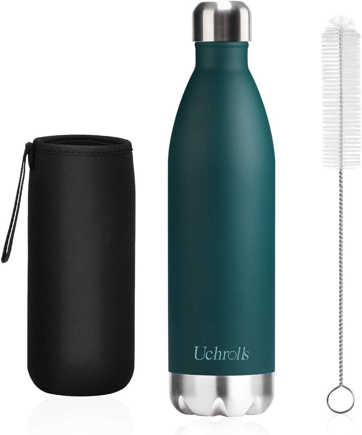 Uchrolls Botella de Agua aislada al vacío de Acero Inoxidable, 500ml, diseño de Pared Doble para Mantener Sus Bebidas Caliente y Fría, BPA Gratis, Ideal Botella de Agua Deportiva
