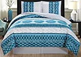 4-Piece Fine printed Oversize Comforter Set Reversible Goose Down Alternative Bedding KING Size (Turquoise Blue, Grey, White, Navy)