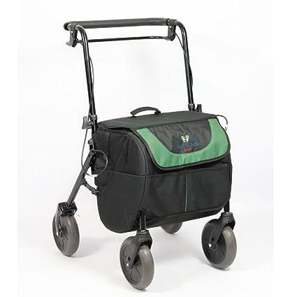 Rollator con 4 ruedas y freno, asiento y bolsa de transporte, plegable y regulable