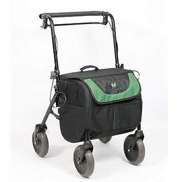 Rollator con 4 ruedas y freno, asiento y bolsa de transporte, plegable y regulable | 2 en 1: andador y carro de la compra