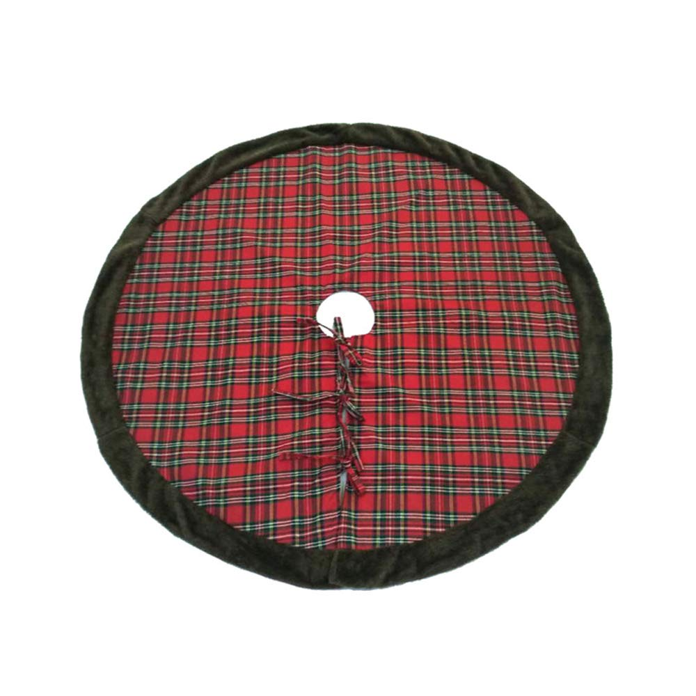 Romiracle Christmas Tree Skirt 42inch Plaid Tree Skirt Xmas Holiday Decorations Home Party Oranments (Plaid)